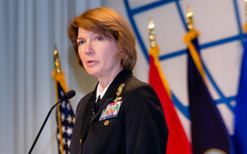 Vice Adm. Nancy Norton, USN, director, DISA, gives the luncheon keynote at the Defensive Cyber Operations Symposium in May. Photo credit: Michael Carpenter