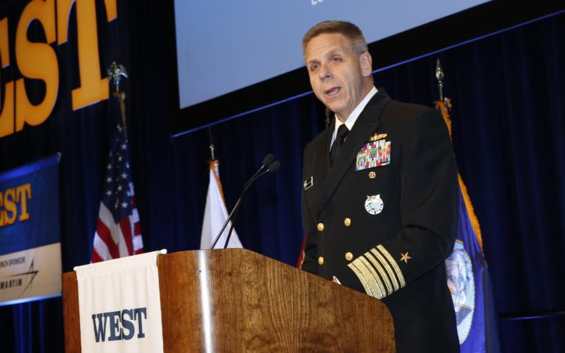 Adm. Philip S. Davidson, USN, commander, U.S. Indo-Pacific Command, warns of Chinese aggression in his Tuesday keynote luncheon address at WEST 2020. Photo by Michael Carpenter