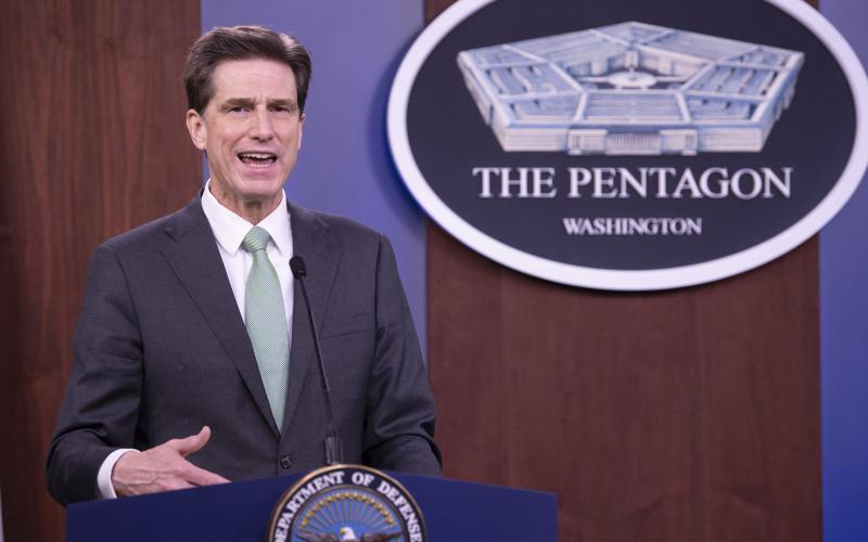 Department of Defense Chief Information Officer Dana Deasy, pictured speaking at the Pentagon in April, explained to reporters yesterday that the department has not heard anything back from the Federal Communications Commission about the disputed Ligado ruling. Credit: DOD photo by Marvin Lynchard