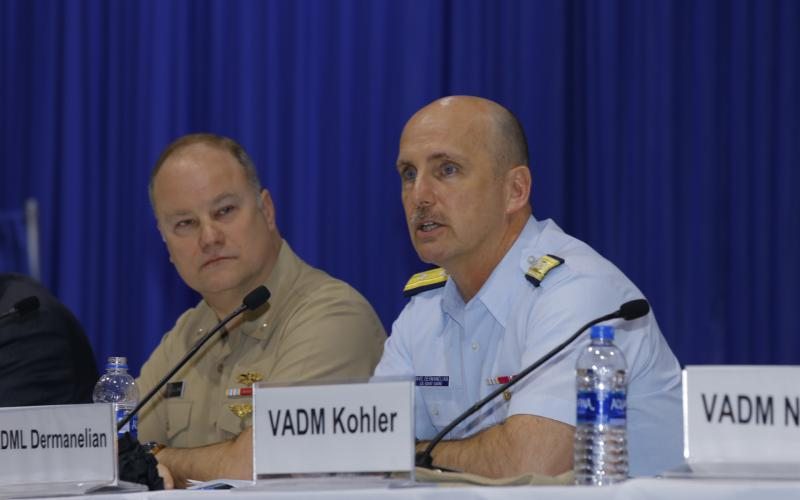 Rear Adm. David Dermanelian, USCG, assistant commandant, Command, Control, Communications, Computers and Information Technology, and commander, U.S. Coast Guard Cyber Command, discusses cooperation in the cyber realm as part of a panel at West 2019. Photo by Michael Carpenter