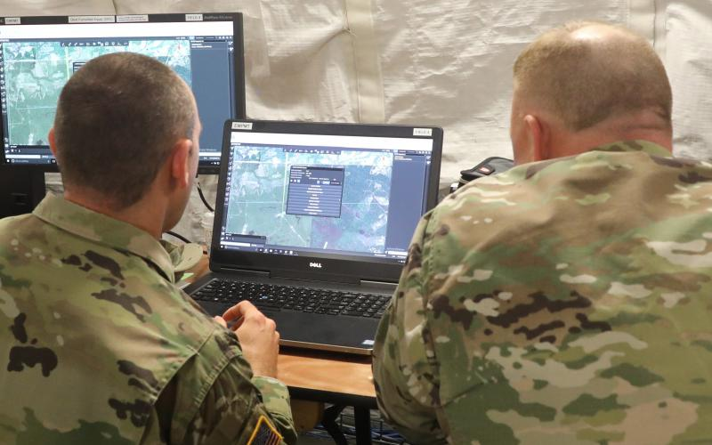 Soldiers wearing TIDAM tokens could log in by getting near to a system, which would then prompt them to enter a PIN or a biometric as a second form of ID. They would be automatically logged out when they walk out of the system's range. Credit: Combat Camera, courtesy of CCDC C5ISR Center public affairs