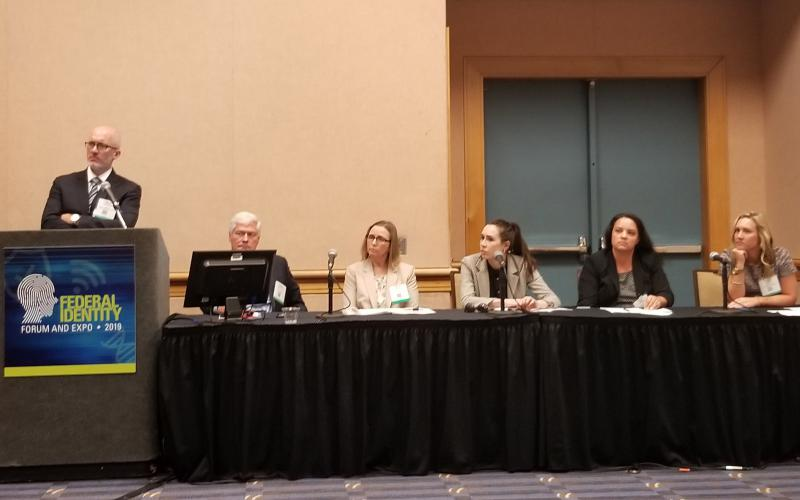(l-r) Monte Hawkins, director of the National Vetting Center, Charles Bartoldus, former official and now senior advisor to CT-Strategies, ODNI Identity Intelligence Executive Kathleen Lane, DHS CIO official Emily Barbero, NVC Chief of Staff Casie Antalis and NVC Technical Director Lori Vislocky speak at AFCEA International's Federal identity Forum and Expo in Tampa, Florida. Credit: Shaun Waterman