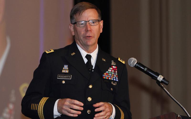 Lt. Gen. Stephen Fogarty, USA, commanding general, U.S. Cyber Command, speaks at AFCEA's TechNet Augusta conference. Photo by Michael Carpenter