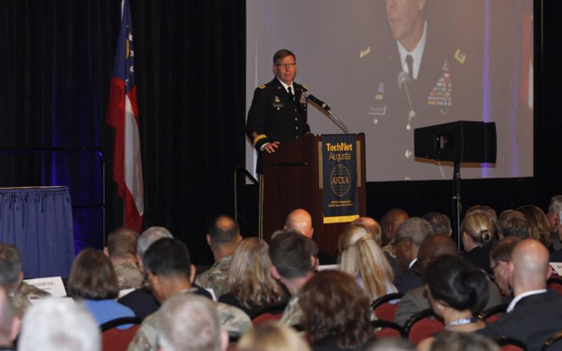 Lt. Gen. Stephen Fogarty, USA, commanding general, U.S. Cyber Command, addresses the crowd at AFCEA's TechNet Augusta conference. Photo by Michael Carpenter
