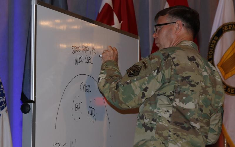 Lt. Gen. Stephen Fogarty, USA, commanding general, U.S. Army Cyber Command, sketches a graphic to detail his talk during AFCEA TechNet Augusta. Photo by Michael Carpenter