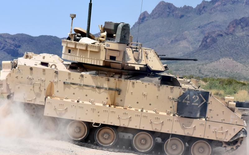 An M2A3 Bradley Fighting Vehicle crew participates in gunnery training at the Doña Ana Range Complex, New Mexico, in 2018. The Army is developing a Next-Generation Combat Vehicle, and the xTechSearch program may help reduce the vehicle's weight and increase its survivability while also develop advanced antennas to replace the ubiquitous whip antenna. Credit: U.S. Army photo