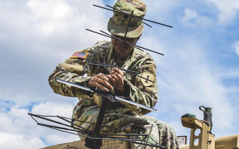 A soldier helps set up a tactical command post to test communications in Germany, July 8, 2019. The Army is releasing a flurry of documents, including a pending posture statement, outlining its modernization plans for 2035. Credit: Army Sgt. Patrick Jubrey
