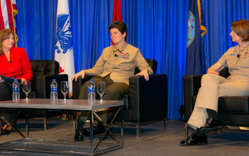 During a February 14 fireside chat at the West Conference,Lt. Gen. Lori Reynolds, USMC, deputy commandant for information, U.S. Marine Corps Headquarters (c), and Vice Adm.Nancy Norton, USN, director, DISA and commander of the Joint Forces Headquarters-Department of Defense Information Network (r), reflect on the challenges facing women in the military.DeEtte Gray, president of U.S. operations, CACI International and chairwoman of the AFCEA board, moderatedtheevent.Credit: Michael Carpenter
