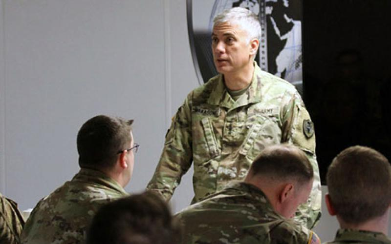 Gen. Paul Nakasone, USA, commander, U.S. Cyber Command; director, National Security Agency; and chief, Central Security Service, pictured speaking in 2019 with cyber soldiers assigned Fort Meade, expects an increase in the number of cyber teams deployed at the request of foreign governments to help defend against cyber marauders. Credit: Steven Stover, 780th Military Intelligence Brigade (Cyber)