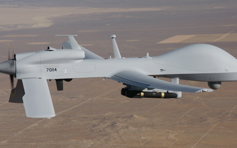The Multi-Function Electronic Warfare-Air Large program will integrate an offensive electronic warfare pod onto an MQ-1C Gray Eagle unmanned aircraft system. It, along with two other programs, offers the Army an opportunity for interoperability. Credit: U.S. Army
