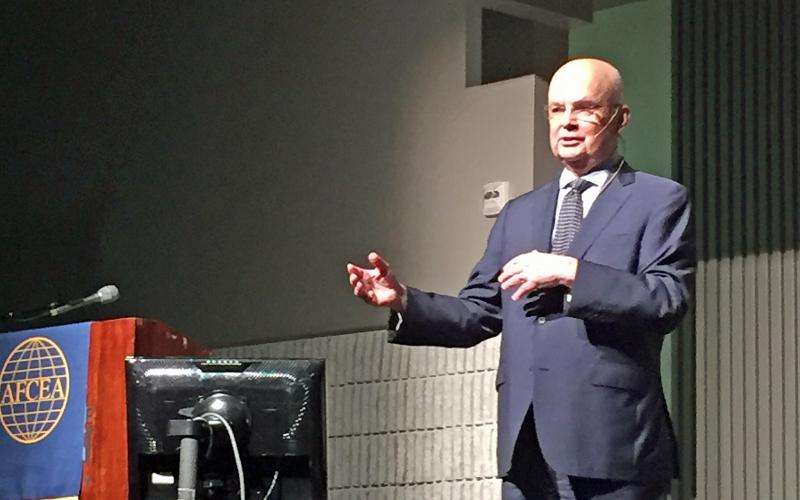 """""""Russia is not a resurgent power. Russia is a remonstrate power,"""" said Gen. Michael Hayden, USAF (Ret.), principal, the Chertoff Group, during his morning keynote at the AFCEA/GMU Critical Issues in C4I Symposium."""