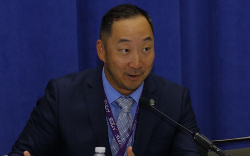 Dr. Andrew Heo, chief cybersecurity engineer, ITS LLC, speaks during a STEM panel att DCOS.