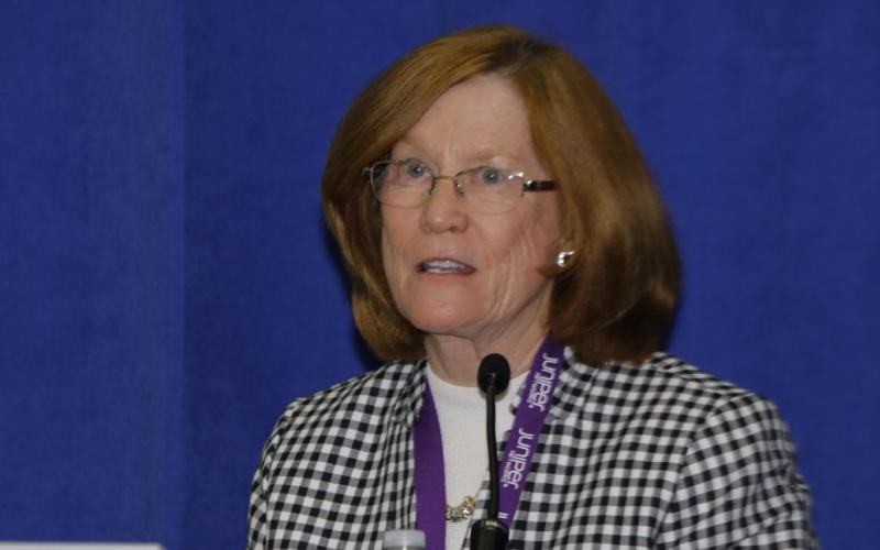 "Rear Adm. Elizabeth ""Betsy"" A. Hight, USN (Ret.), member of the board of visitors, Software Engineering Institute, moderates a panel on women in cybersecurity at DCOS."