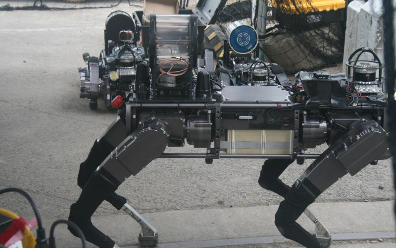 Team Pluto, with roboticists from the University of Pennsylvania, Exyn Technologies and Ghost Robotics, relied in part on Ghost's quadruped robot platform (pictured), as well as Exyn's advanced autonomous aerial robot.