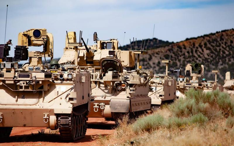 At Fort Carson, Colorado, modified Bradley Fighting Vehicles, known as Mission Enabling Technologies Demonstrators, and modified M113 tracked armored personnel carriers, or Robotic Combat Vehicles, were used for the Soldier Operational Experimentation (SOE) Phase 1 to further develop learning objectives for the Manned Unmanned Teaming (MUM-T) concept. Credit: Jerome Aliotta, CCDC Ground Vehicle Systems Center