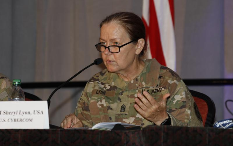 CSM Sheryl Lyon, USA, discusses cybersecurity on a panel at TechNet Augusta 2021.Photo by Michael Carpenter