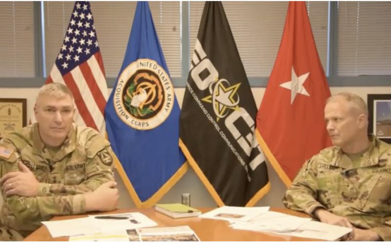 Maj. Gen. Peter Gallagher, USA (l), and Brig. Gen. Rob Collins, USA, discuss the U.S. Army's current and future network plans to help industry understand the service's requirements.