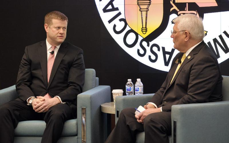 Undersecretary of the Army Ryan McCarthy (l) speaks with Gen. Carter Ham, USA (Ret.), Association of the United States Army (AUSA) president and CEO, on February 26 about the expected upcoming budget process. Photo credit: AUSA