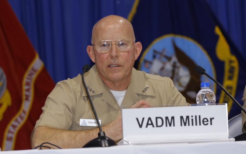 Vice Adm. DeWolfe Miller III, USN, commander, Naval Air Forces/commander, Naval Air Force, Pacific Fleet, serves on a panel at West 2019. Photo by Michael Carpenter
