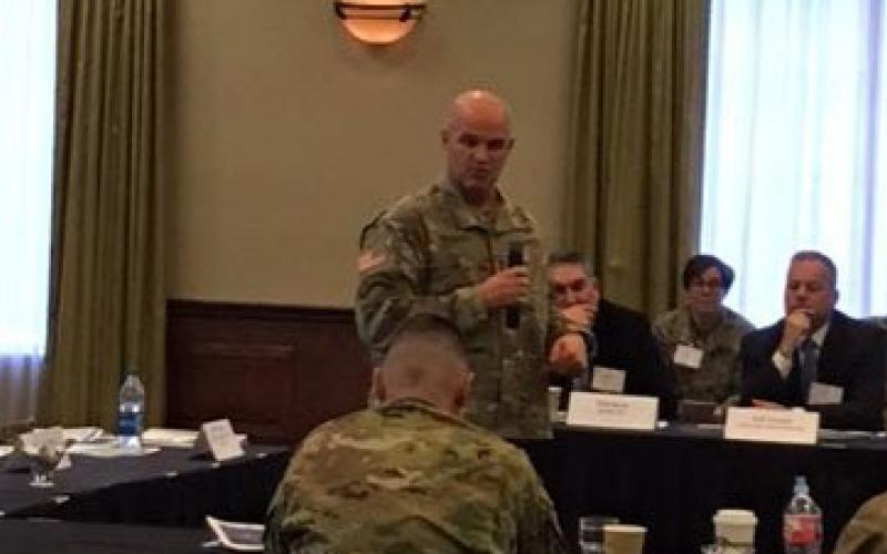 Maj. Gen. James J. Mingus, USA, director, U.S. Army Mission Command Center of Excellence, addresses members of the military and industry who attended the AFCEA Mission Command Industry Engagement roundtable prior to the opening of the symposium.