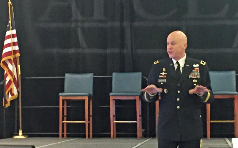 Major Gen. John B. Morrison, USA, commanding general, U.S. Cyber Center of Excellence and Fort Gordon, offers welcoming remarks at AFCEA's first Cyber Education, Research and Training Symposium.