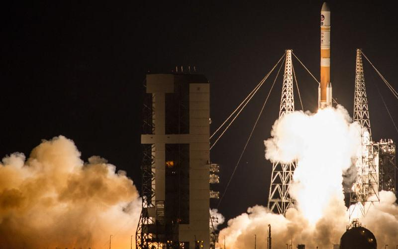 To improve resiliency, the U.S. Air Force Space and Missile Center is leveraging commercial satellite communications technology for its next series of Wideband Global SATCOM (WGS) satellites on the WGS11+ platform. Pictured is the Boeing-built WGS-9 satellite aboard a United Launch Alliance Delta IV Evolved Expendable Launch Vehicle launched from Cape Canaveral Air Force Station, Florida in 2017. Photo Courtesy of the United Launch Alliance