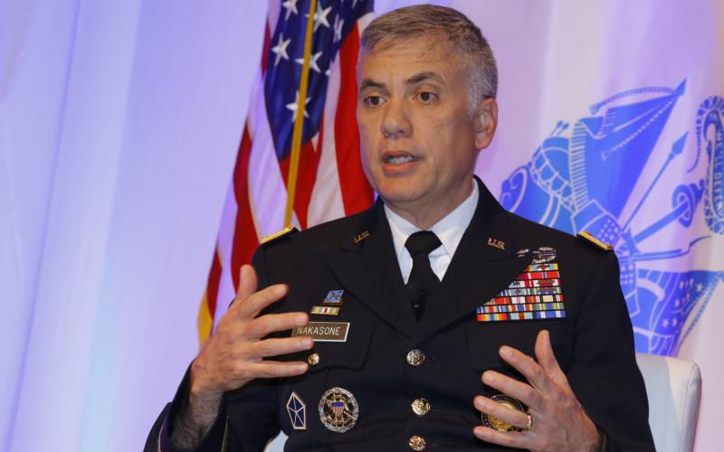 Gen. Paul Nakasone, USA, director of the National Security Agency and commander of U.S. Cyber Command, discusses datat mangement at TechNet Cyber. Photo by Michael Carpenter