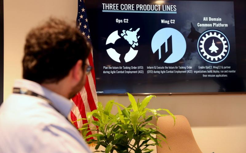 Stuart Wagner, the chief digital transformation officer for the Air and Space Forces, learns about Kessel Run's three product lines during a June 22 visit to the Boston software factory. Kessel Run has developed a key command and control tool, C2IMERA, that will be used in all of Air Combat Command's installations. Credit: U.S. Air Force photo by Richard Blumenstein
