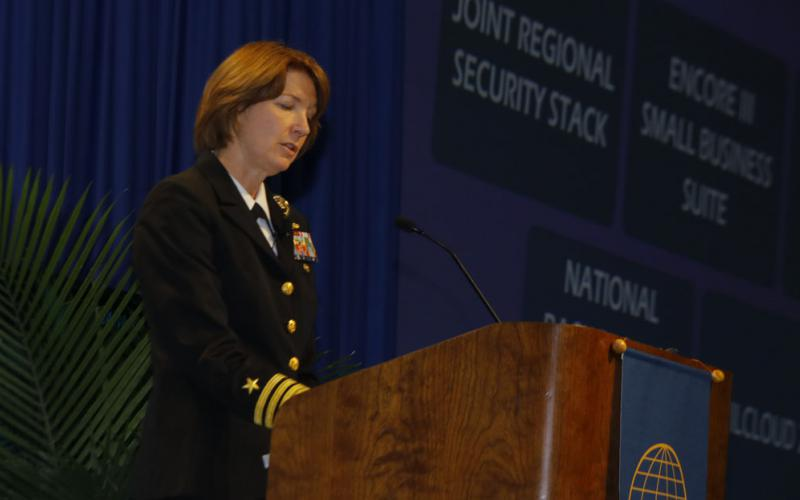 Vice Adm. Nancy Norton, USN, DISA director and commander of JFHQ-DODIN, speaks at the AFCEA Defensive Cyber Operations Symposium.