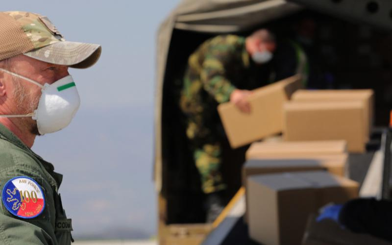 Czech military personnel load PPE supplies. Military personnel are conducting widespread testing in the Czech system of Smart Quarantine. Photo courtesy of NATO