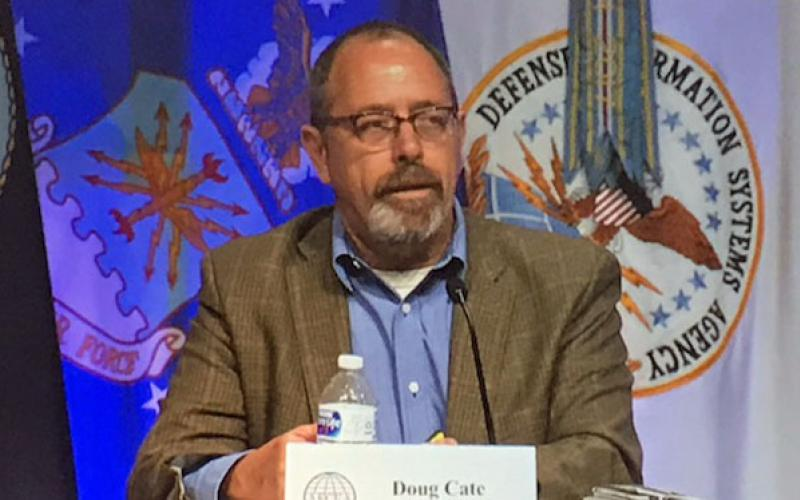 Doug Cate, acting chief technology officer, Defense Intelligence Agency, talks about innovation during a panel at the AFCEA Defensive Cyber Operations Symposium.