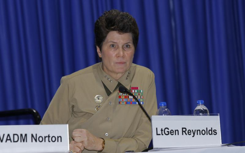 Lt. Gen. Loretta Reynolds, USMC, deputy commandant of information for the Marine Corps, talks about the importance of the information domain during a panel at West 2019. Photo by Michael Carpenter