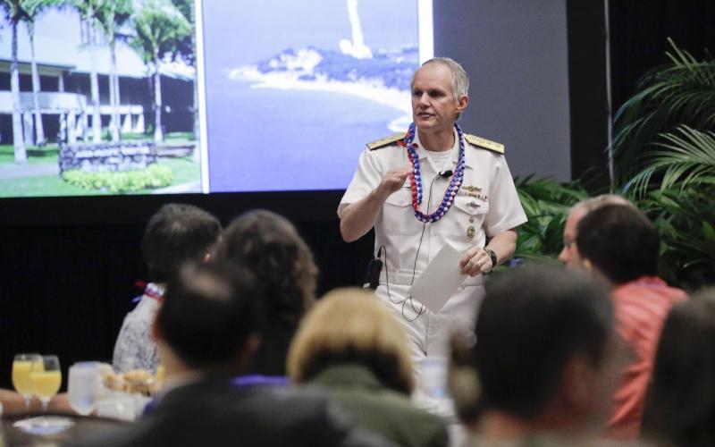 Rear Adm. Phillip Sawyer, USN, deputy commander, U.S. Pacific Fleet, speaks at AFCEA TechNet Asia-Pacific in Honolulu. Photo by Bob Goodwin