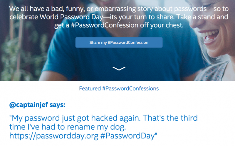 Intel Security's World Password Day website