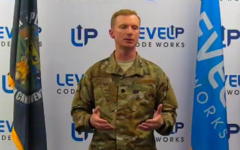 Speaking at a virtual luncheon of AFCEA's Alamo Chapter on August 19, Lt. Col. John Priestly, USAF, program director and material leader, Unified Platform Program; and director, LevelUp CodeWorks Software Factory, San Antonio, shares that he is seeing initial success at the cyber software factory, which is less than a year old.