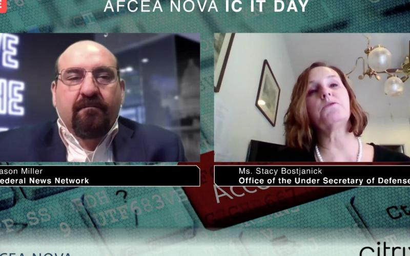 Stacy Bostjanick (r), director of CMMC, Office of the Under Secretary of Defense (A&S), warns of CMMC certification companies that are not themselves certified in a discussion at AFCEA NOVA Intelligence Community IT Day.