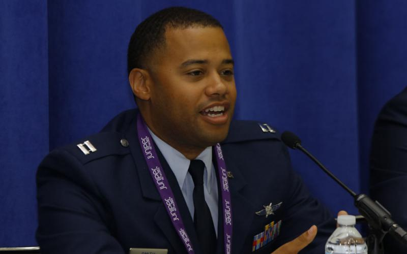 Capt. Justin Smith, USAF, cyber warfare planner, 315th Cyberspace Operations Squadron, particiates in a STEM panel at DCOS.