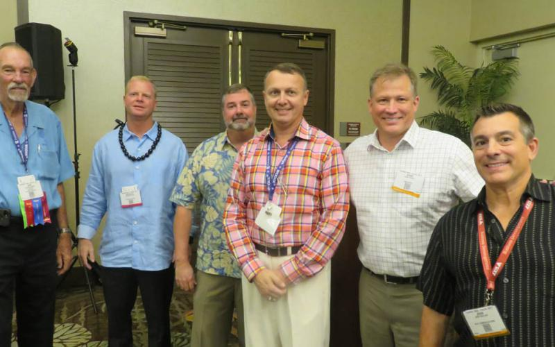 Industry leaders took on the tough topic of cybersecurity and mission assurance at AFCEA TechNet Asia Pacific, l-r: Adm. Richard Macke, USN (Ret.); Douglas Booth, Lockheed Martin; Chris Smith, At&T; Earl Matthews, DXC Technology; Ward Heinke, ForcePoint; and John Merlino, Axis Communications.