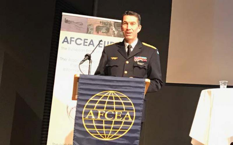 Gen. Micael Byden, SWEAF, supreme commander, Swedish armed forces, addresses TechNet Europe attendees in Stockholm.