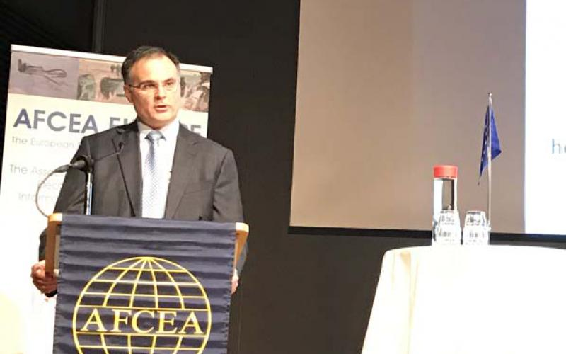 John A. Zangardi, acting U.S. Defense Department chief information officer, speaks at TechNet Europe in Stockholm.