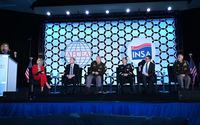 Panelists discuss strategic intelligence at the 2021 Intelligence and National Security Summit. Photo by Herman Farrer