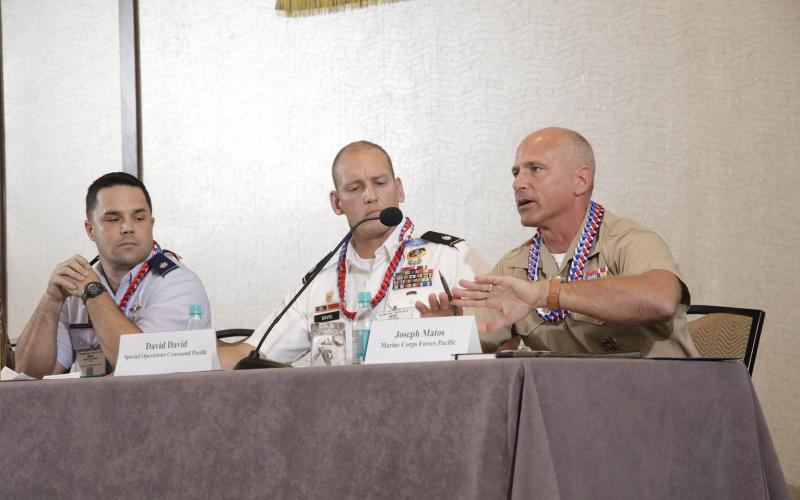 Col. Joseph Matos, USMC, Marine Corps Forces, Pacific (r) discusses the challenges of cyber during a panel at AFCEA TechNet Asia-Pacific. Photo by Bob Goodwin