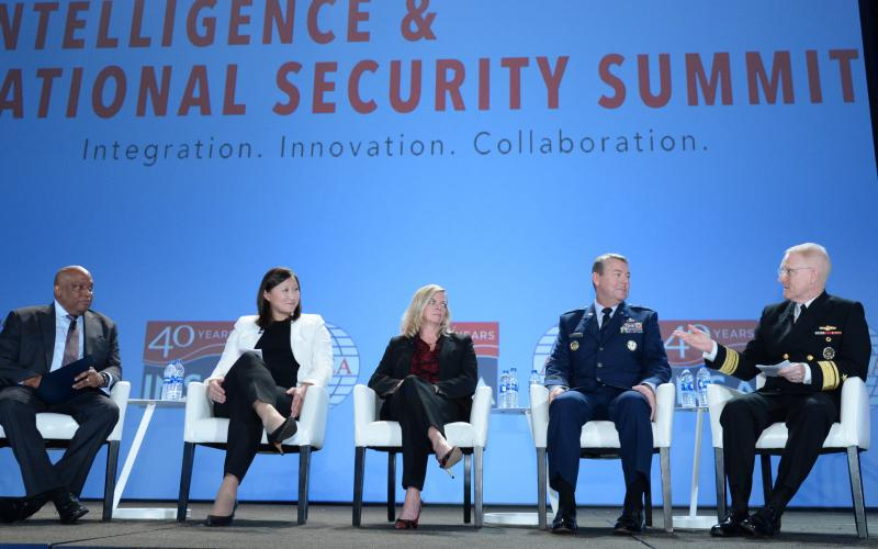 """The plenary panel discussion on defense intelligence at the AFCEA/INSA Intelligence & National Security Summit  features (l-r) moderator Lt. Gen. Vincent R. Stewart, USMC (Ret.); Kari Bingen, undersecretary of defense for intelligence, U.S. Defense Department; Suzanne White, deputy director, DIA; Maj. Gen. Jeffrey Kruse, USAF, director of defense intelligence (warfighter support); and Rear Adm. Frank """"Trey"""" Whitworth, USN, J-2, The Joint Staff. Credit: Herman Farrer Photography"""