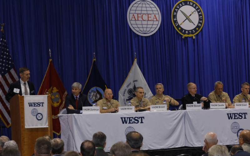 Panelists at West 2019 discuss preparing sailors for the horrors of war. Photo by Michael Carpenter