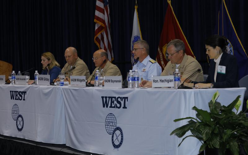 Discussing how to prevail in the gray zone are (l-r) panel moderator Kathleen Hicks, director, International Security Program, Center for Strategic & International Studies; Vice Adm. John D. Alexander, USN; Vice Adm. Michael M. Gilday, USN; Vice Adm. Fred M. Midgette, USCG; Rear Adm. Tim Szymanski, USN; and Nina Hachigian, former ambassador to the Association of Southeast Asian Nations.
