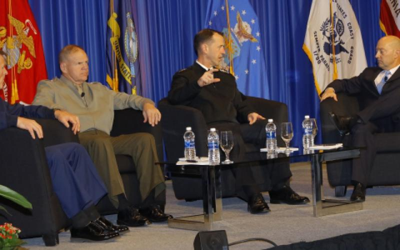 From l-r, Adm. Paul F. Zukunft, USCG, commandant, U.S. Coast Guard; Gen. Robert B. Neller, USMC, commandant, U.S. Marine Corps; and  Adm. John M. Richardson, USN, chief of naval operations, discuss sea service challenges and opportunities in a town hall forum moderated by Adm. James G. Stavridis, USN (Ret.), dean, The Fletcher School of Law and Diplomacy, Tufts University.