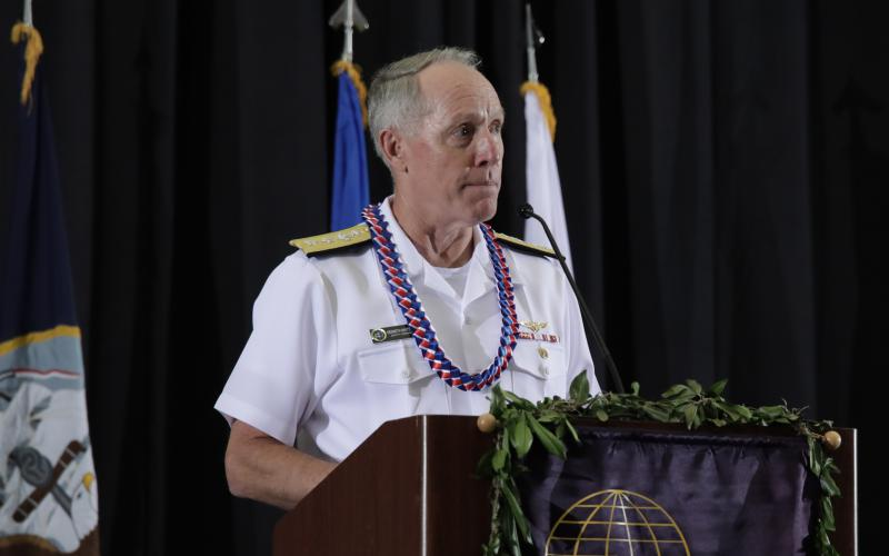 Rear Adm. Kenneth Whitesell, USN, deputy commander of the U.S. Pacific Fleet, describes the challenges it faces. Credit: Bob Goodwin Photography