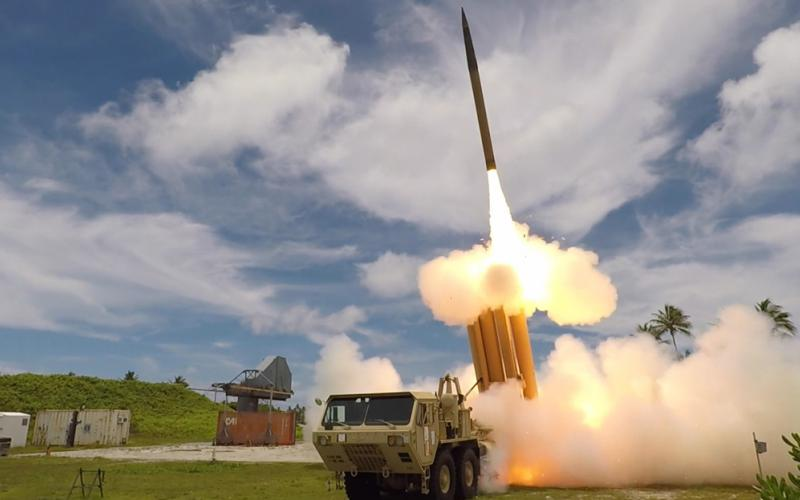 A Terminal High-Altitude Area Defense (THAAD) interceptor is launched from the Reagan Test Site in Kwajalein Atoll. THAAD is one component of a layered missile defense system being configured to stop incoming missile attacks. (Credit: Missile Defense Agency)