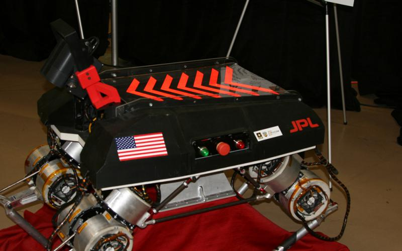 This early version of the ARL RCTA's LLAMA robot demonstrated how a quadruped can ascertain obstacles and avoid them. An improved version features better sensors, and future iterations will give it more speed and greater payload.