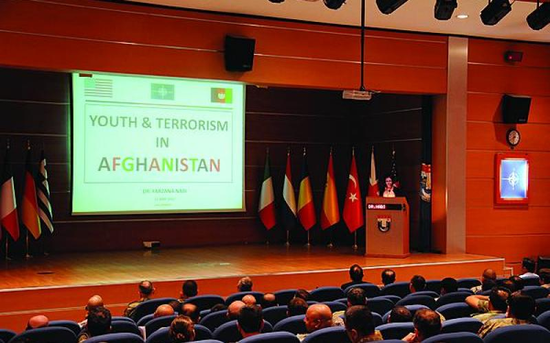 A lecturer at the NATO Centre of Excellence Defence Against Terrorism (COE DAT) in Ankara, Turkey, provides counterterrorism training for NATO personnel deploying to Afghanistan. The center, which is run by eight NATO nations, now is expanding its mission area to include terrorist exploitation of cyberspace.